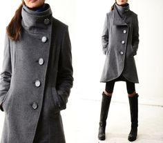 Missing you - crystal buttoned quilted cashmere coat (Y1225)