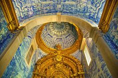 Interior of St. Lawrence Church (Sao Lourenco in Portugese), Almancil, Portugal Religious Architecture, Architecture Design, Inside Castles, Portugal, Spanish Style, City Photo, History, St Lawrence, Places