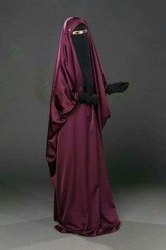 Maroon Jilbab with Niqab and Gloves