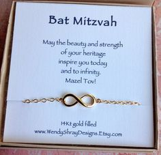 Bat Mitzvah Hanukkah gift Sideways gold by WendyShrayDesigns Bat Mitzvah Gifts, Bat Mitzvah Party,