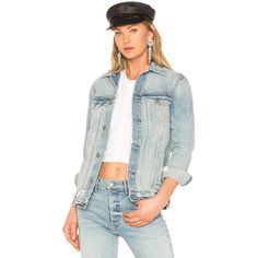 GRLFRND Daria Oversized Denim Jacket ($290) ❤ liked on Polyvore featuring  outerwear, jackets