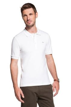 Lacoste Club Short Sleeve Classic Stretch Pique Polo: 1.) White 2.) Black