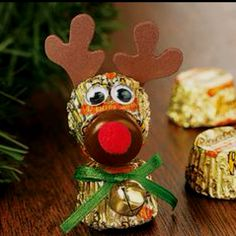 Reeses peanut butter cup reindeer ornament.