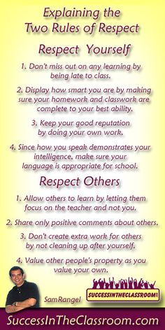 "I've always thought the only rule needed for class is ""Respect"" and this might help explain what that means to students."