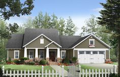Bungalow Style House Plans - 1924 Square Foot Home , 1 Story, 3 Bedroom and 2 Bath, 2 Garage Stalls by Monster House Plans - Plan