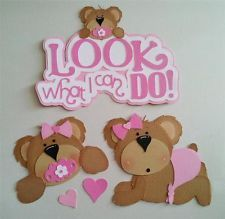 ELITE4U SYD Look What I Can Do Baby Bear Girl Premade Paper Piecing Scrapbook