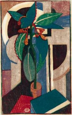 BLACK, Dorrit  (Australia, 1891 - 1951.) The Pot Plant, 1933, London.  Colour linocut on paper.   30.5 x 19.0 cm (printed image.) Art Gallery of South Australia, Adelaide