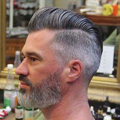 How to style a modern pompadour frisuren frauen frisuren männer hair hair women Short Pompadour, Pompadour Style, Modern Pompadour, Pompadour Hairstyle For Men, High Fade Pompadour, Hairstyle Short, Bald Men With Beards, Grey Beards, Long Beard Styles