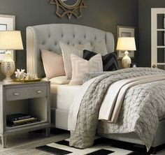 Love the combination of white and grey for a couples bedroom