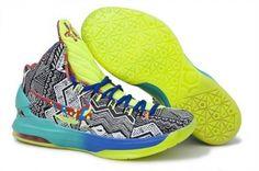 7fc2435d5151 Nike Kevin Durant KD V Chaussures de Basket-Bleu Vert-Blanc Noir Impression