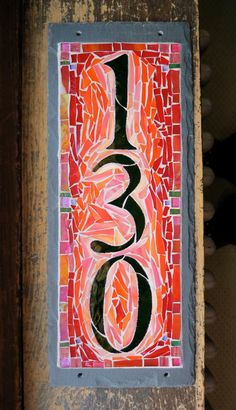 Vertical 3 Digit House Number Mosaic Slate wide by nutmegdesigns