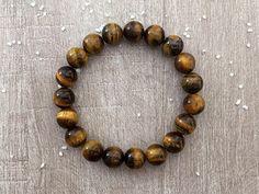 Bracelet homme, oeil-de-tigre, pierre naturelle, lithothérapie, protection, bien-être, pierre astrale, tendance, mode, idée cadeau : Bracelet par maheva
