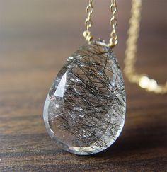 Black Rutilated Quartz Gold Necklace by friedasophie on Etsy