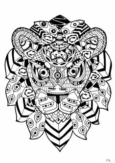 here are complex coloring pages for adults of animals different levels of details and styles
