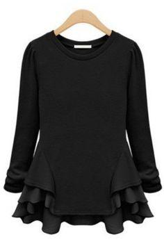 fde7802d24751 Black Long Sleeve Contrast Chiffon Ruffles T-Shirt Chiffon Ruffle