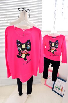 QZZ269 New Autumn cute dog 1 6Y kids family matching t shirts clothes mother daughter long sleeve family look t shirts outfits