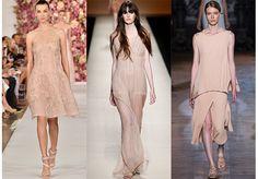 Vibra romántica: nudes y colores etéreos Pálidos rosas, nudes puros, el cuerpo se devela debajo de las prendas. Colores románticos y delicados lucen con ligereza sobre las pasarelas.