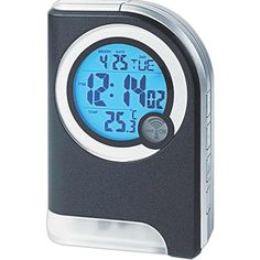 This atomic travel clock does more than just tell time. A calendar displays month, date, and day of the week while a built in thermometer gives current temperature. Radio controlled alarm with snooze function. Includes LED flashlight feature. Ideal size for taking on the go. Sensors automatically illuminate LEDs when clock is lifted. May be customized with company name and logo or purchased without imprint. Requires 4 x AAA batteries, not included.