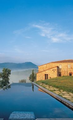 Tuscany, Castello di casole , province of Siena , Tuscany region, Italy. Look at that mountain view! Be still my beating heart!!!