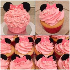 Minnie Mouse cupcakes Minnie Mouse big cupcake by www.amberslittlecupcakery.com Mickey Minnie Mouse, Minnie Mouse 1st Birthday, Minnie Mouse Baby Shower, Baby Girl First Birthday, Kylie Birthday, 3rd Birthday, Birthday Ideas, Big Cupcake, Cupcake Cakes