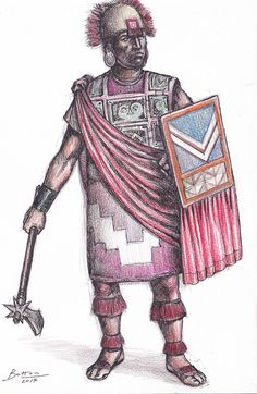 Inca Warrior. Unlike the traditional view about Incas, they were able of working metals like copper and bronze, making weapons, helmets and lamellar armours like the classic cultures. Helmet :Ñauichina. Chestplate:Aucana cushma. Wooden shield:Guaycanga Robe:Yacoya. Mace:Champi