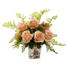 Nearly Natural Rose & Maiden Hair with Floral Planter, Pink