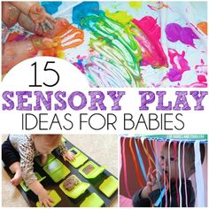15 Sensory Play Ideas For Babies - Includes a ton of easy taste safe recipes, upcycled sensory boards, and sensory bottles! Baby Sensory Play, Sensory Activities, Baby Play, Infant Activities, Activities For Kids, Baby Sensory Ideas 3 Months, 4 Month Old Baby Activities, Baby Activites, Cognitive Activities