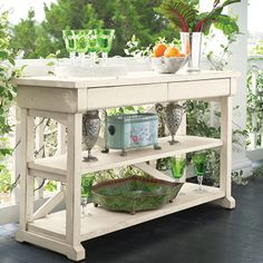 Shabby Chic Hall Table ~ this would make a great potting bench but could be used as a kitchen island too! great piece so versatile ...love it!