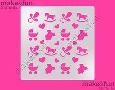 Bebé ducha patrón pastel plantilla plantilla de por makeandfun