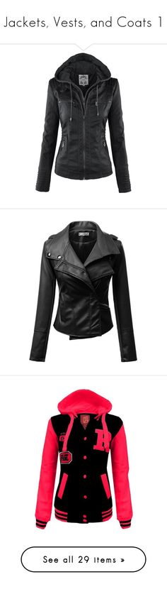"""""""Jackets, Vests, and Coats 1"""" by xxxxtherazorbladesreliefxxxx ❤ liked on Polyvore featuring outerwear, jackets, tops, coats, leather look jackets, fake leather jacket, faux-leather jacket, synthetic leather jacket, vegan leather jacket and leather jacket"""