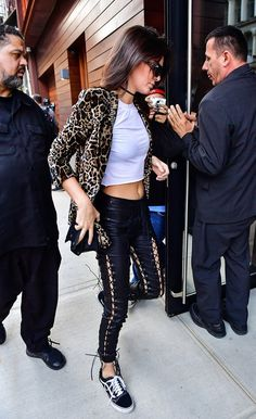 Kendall Jenner's leather pick paired perfectly with her tee. Image Source: Getty / James Devaney