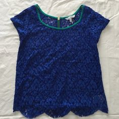 Blue Zipper-Back Lace Shirt Lace shirt with scalloped bottom. Cute back zipper. Size medium but fits a bit more snug. Cute for any occasion! No signs of wear, stains, or damage of any sort. Smoke free home. Speechless Tops Blouses
