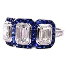 Art Deco 3.25cts Diamond Sapphire Platinum Engagement Ring.