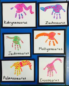 Handprint dinosaurs! This was a follow up from reading Harry and the Dinosaurs Go to School, with the Jackosaurus joke. #handprint #dinosaur #HarryAndTheDinosaurs