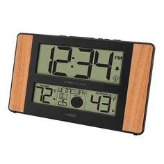 La Crosse Technology Atomic Digital Wall Clock with Wood Side Panels, Multicolor