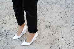love these white wedge heels