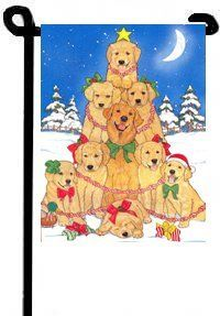 Golden Retriever Holiday Garden Flag . $15.00. * Double Sided * Made in the USA * approximately 11 x 15 inches * Permanently Dyed * Fade Resistant