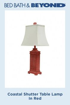 Punctuate your coastal-cottage or shabby-chic theme with this irresistible Coastal Shutter Table Lamp. Achieve task lighting with an accent that boasts seamless style- an eye-catching slatted base and seashell finial are subtly fashionable. Shutter Table, Shutter Designs, Green Shutters, Shabby Chic Theme, Task Lighting, Coastal Cottage, Table Lamp, Bulb, Red