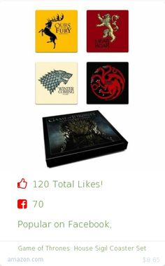 Top christmas gift on Facebook.  Top christmas gift on undefined 120 people likes on Internet. 70 facebook likes. 50 thumbs-up on .undefined dark horse deluxe amazon christmas gift. game of thrones%3A house sigil coaster set from amazon christmas gifts. http://www.MostLikedGifts.com/top-popular-christmas-gifts/amazom-christmas-gift-161659232X-game-of-thrones%3A-house-sigil-coaster-set