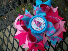 Poppy Trolls Boutique Stacked Bow
