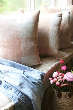 Blush Check Window Seat Pillows  -  I am one of those girls who might be obsessed with little things...   like details.         Pretty little carvings on furniture, and gildi...