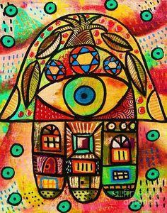 Sandra Silberzweig Hamsa Evil Eye Protection Green Hand 8 X 10 Canvas Print Jewish Crafts, Jewish Art, Sandra Silberzweig, Original Artwork, Original Paintings, Hand Of Fatima, Arts Ed, Star Of David, Hamsa Hand