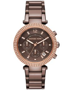 Michael Kors Women's Chronograph Parker Sable Ion-Plated Stainless Steel Bracelet Watch 39mm MK6378