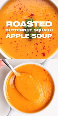 Butternut Squash Soup with Apple Recipe - Easy fall soup recipe with complex flavors. Healthy and delicious. Roasted Butternut Squash Soup with Apple Recipe - Easy fall soup recipe with complex flavors. Healthy and delicious. Apple Recipes Easy, Fall Soup Recipes, Dinner Recipes, Pumpkin Soup Recipes, Blended Soup Recipes, Puree Soup Recipes, Vitamix Soup Recipes, Veggie Soup Recipes, Chili Recipes