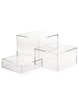 Clear Acrylic Cube Set of 3 Nesting Risers Gaming Desk Set, Sectional Coffee Table, Glass Trophies, Led Puck Lights, Acrylic Display Stands, Adjustable Desk, Store Fixtures, Nesting Tables, Household Items