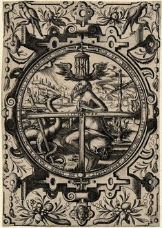 Saturn seated on a skull besides a dragon with a sword entwined in its tail; over head is a winged hourglass and a cross at r; design in a roundel with a strapwork ornament surround surmounted by two parrots.  1572  Engraving