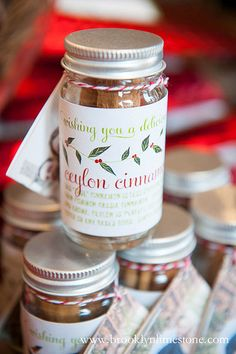 Seasonings Greetings!  tucked a few sticks of cinnamon in a small jar along with our wishes of Seasonings Greetings