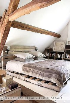pallet bed frame and rustic details.