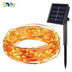 Solar Power Light String Impermeabile HA CONDOTTO LA Luce 10 m 100 LED Filo di Rame Bianco Caldo della lampada Per Esterni decorazioni di natale luci