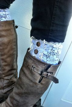 LACE Boot Cuffs Faux Leg Warmer Boot Socks WHITE by ThreeBirdNest, $28.00